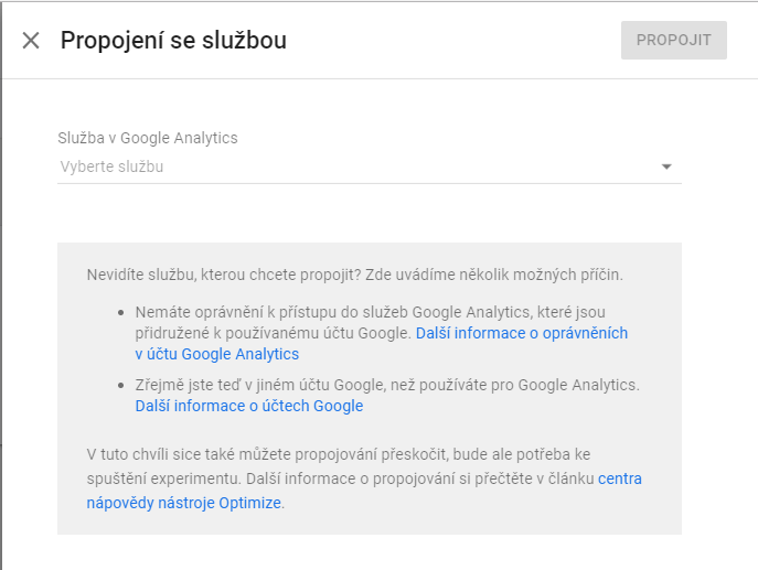 Proces propojení Google Optimize s Google Analytics